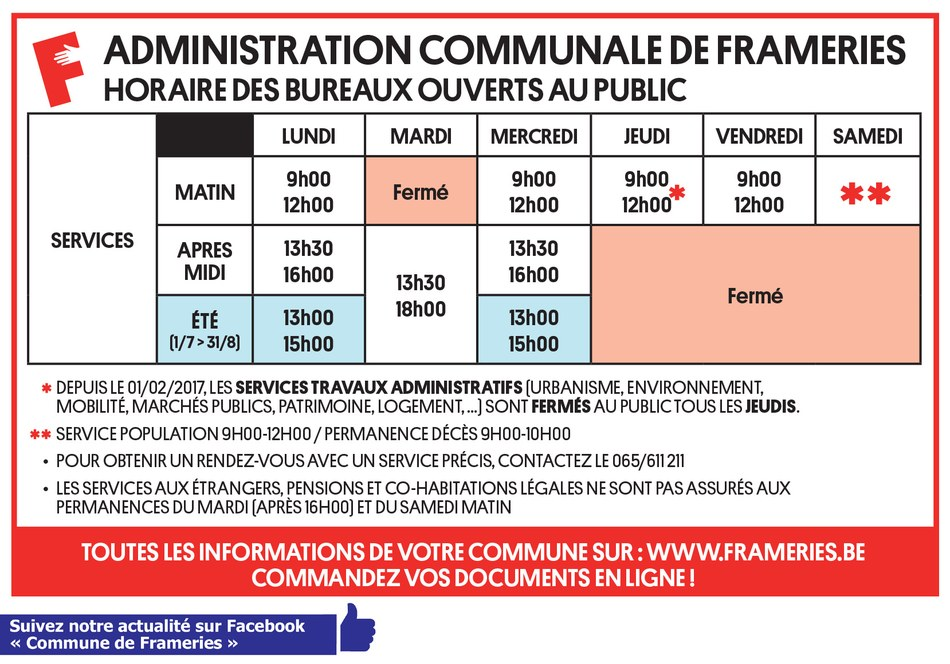 2017 horaires administration web